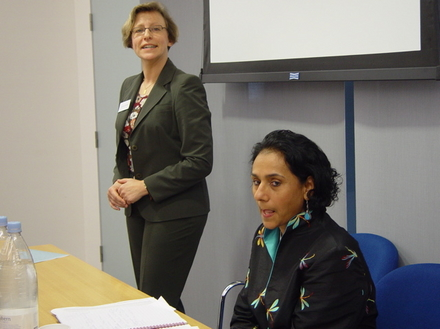 Dr Claudia Sternberg introducing Parminder Vir, OBE